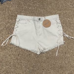 Essue White High Waisted Lace Up Shorts *NWT*